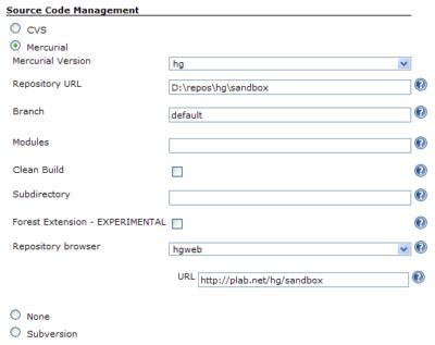 Jenkins Source Code Management of the Job