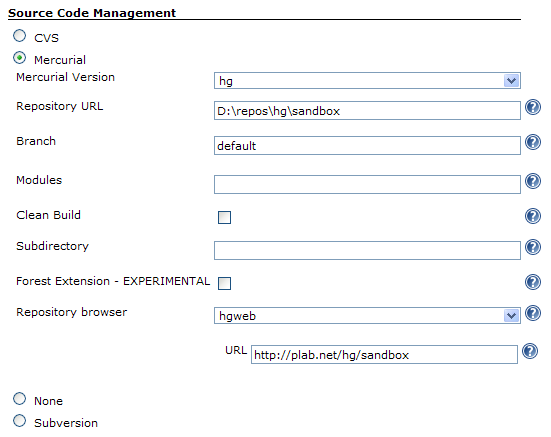 Jenkins Source Code Management of the Job