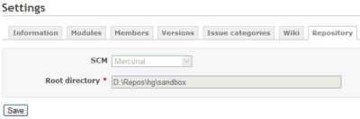 Redmine Mercurial Repository Setting
