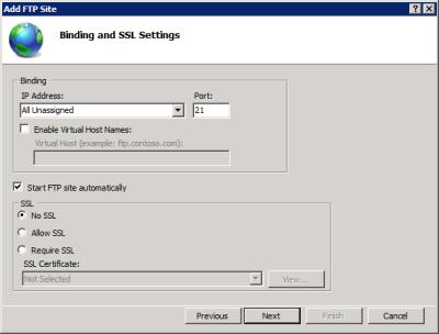 FTP Binding and SSL Settings