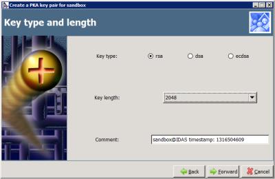 Copssh - Create a PKA key pair - Key type and length