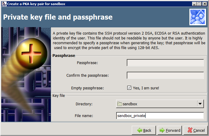 Copssh - Create a PKA key pair - Private key file and passphrase
