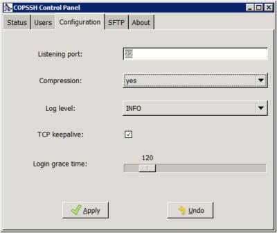 Copssh Control Panel - Configuration