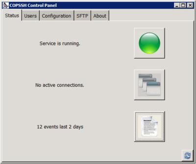 Copssh Control Panel - Status