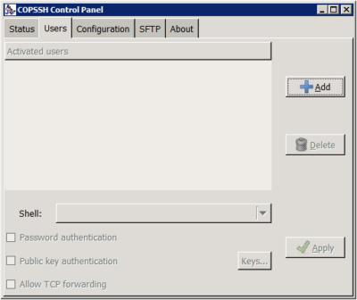Copssh Control Panel - Users