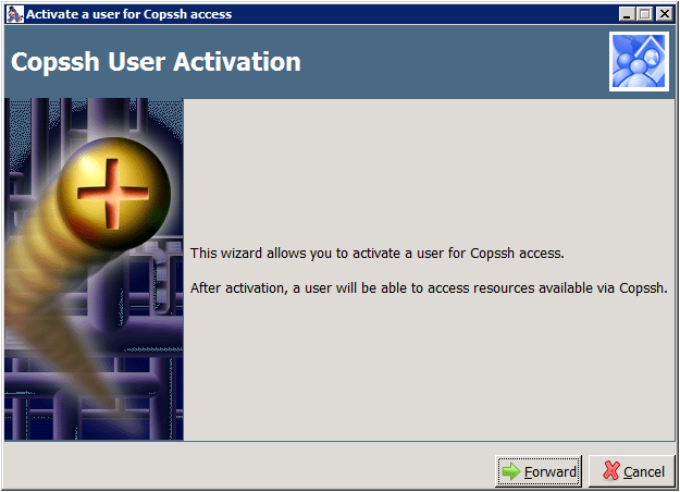COPSSH Control Panel - Activate a user