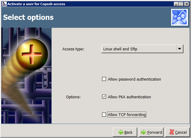 Copssh Control Panel – Select options