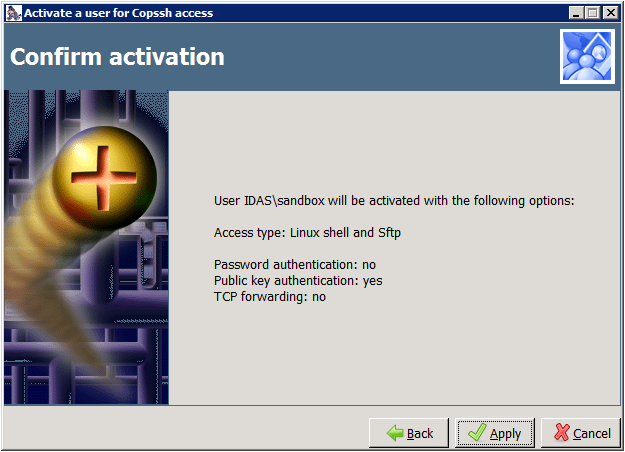Copssh Control Panel – Confirm activation