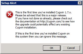 Cygwin Setup - Alert