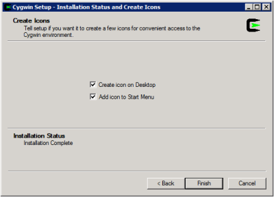Cygwin Setup - Installation Complete