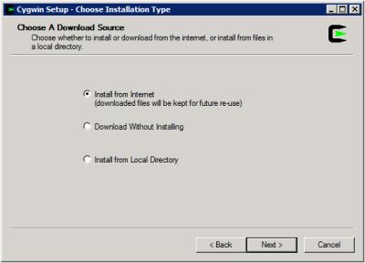 Cygwin Setup - Choose a Download Source