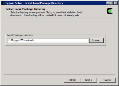 Cygwin Setup - Select Local Package Directory