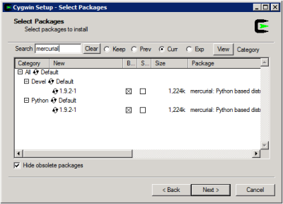 Cygwin Setup - Select Packages