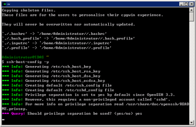 Cygwin SSH Host Configuration