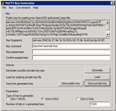 Putty Key Generator – Conversion Privatekey