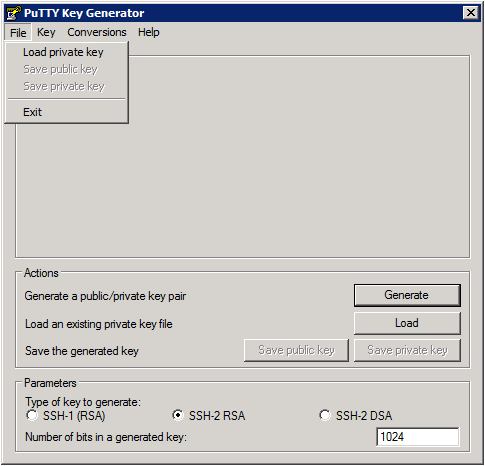 Putty Key Generator – Load private key