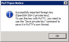 Putty Key Generator – Load private key Notice