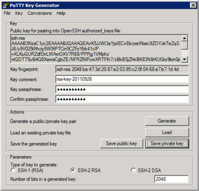 Putty Key Generator – Key Passphrase