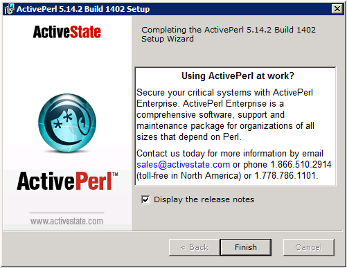 ActivePerl Setup - Installation Complete