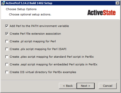 ActivePerl Setup - Select Options