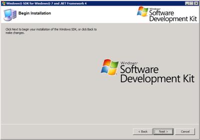 Windows SDK - Begin Installation
