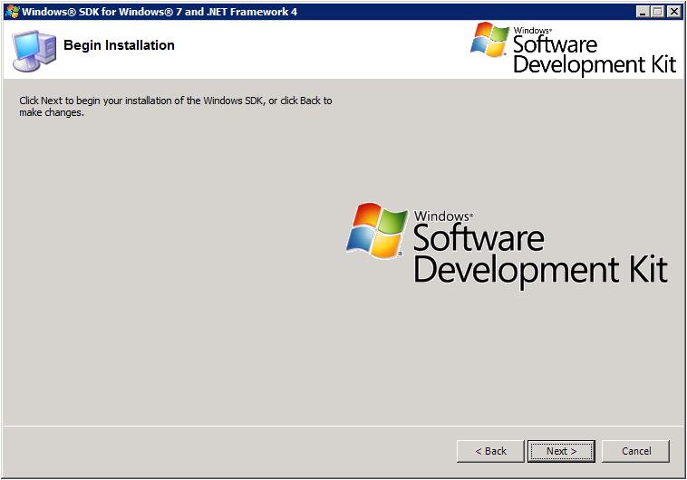 Windows SDK Setup - Begin Installation