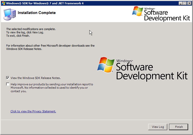 Windows SDK Setup - Installation Complete