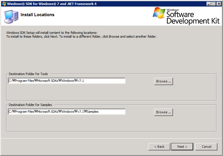 Windows SDK Setup - Install Location
