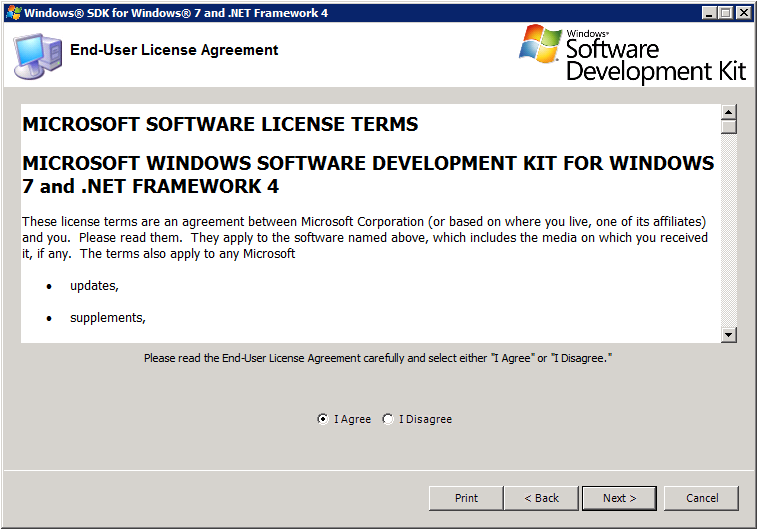 Windows SDK Setup - License