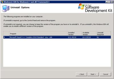 Windows SDK - Uninstall Options