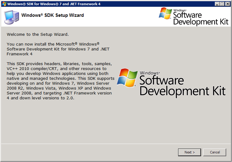 Windows SDK Setup - Welcome